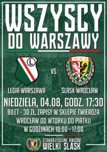 Zapisy na mecz Legia - Śląsk